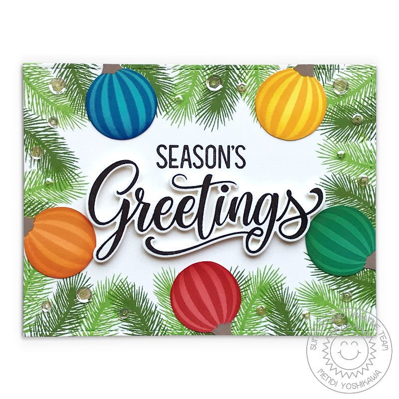 Sunny Studio Stamps Rainbow Glass Ornament Balls around Tree Garland Frame Handmade Holiday Christmas Card (using Season's Greetings Word Dies)