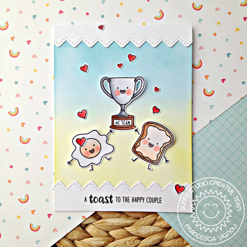 Sunny Studio Stamps Breakfast Puns Toast To the Happy Couple Trophy Card