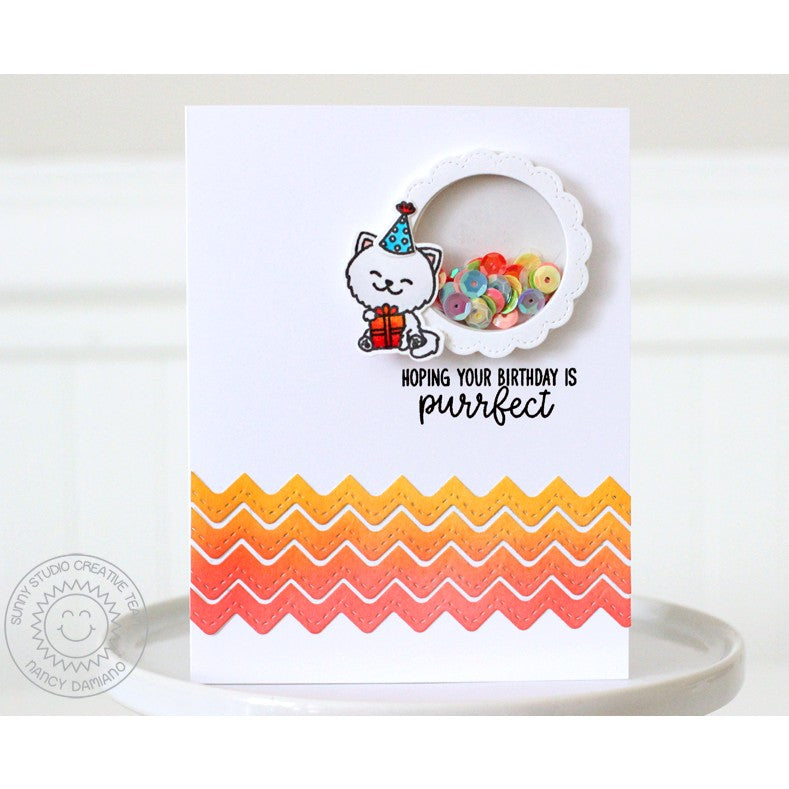 Sunny Studio Stamps Purrfect Birthday Cat Shaker Card using Fancy Frames Circle Dies