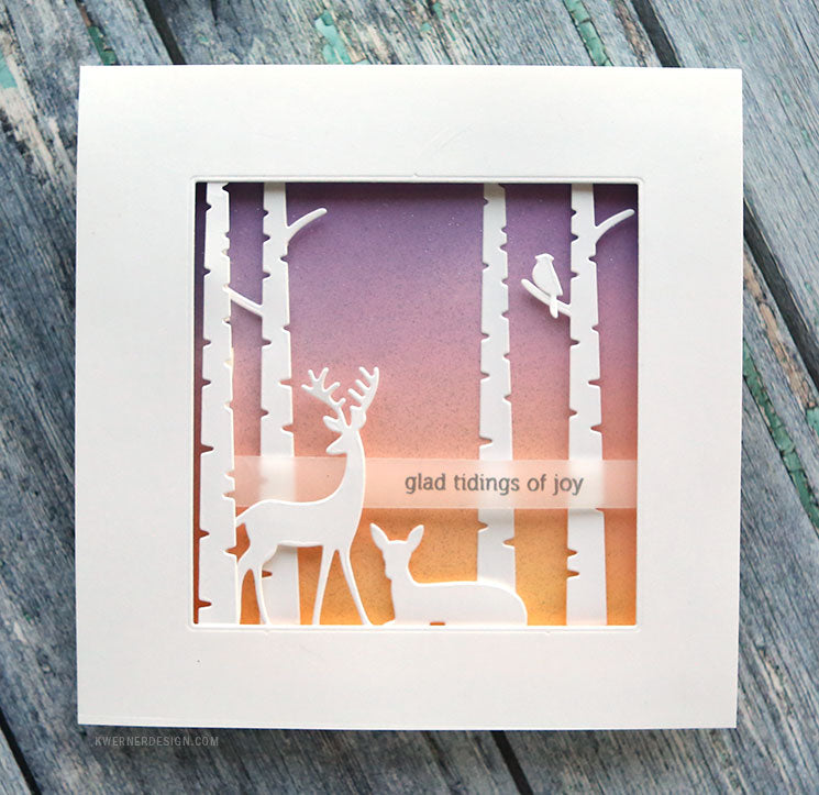 Sunny Studio Stamps Rustic Winter Birch Trees & Deer Silhouette Christmas Card by Kristina Werner at kwernerdesign.com