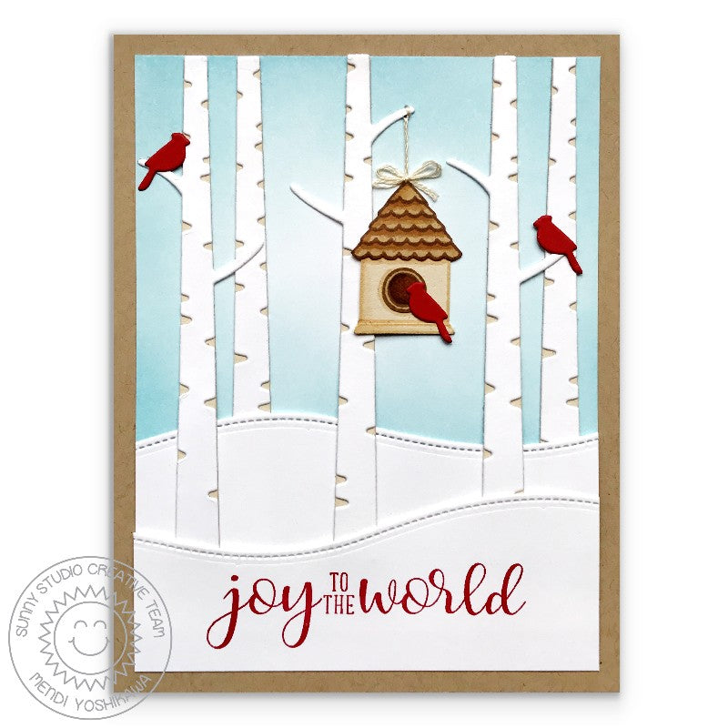 Sunny Studio Stamps Joy To The World Red Cardinal Bird with Birch Trees and Snow Drifts Handmade Holiday Christmas Card by Mendi (using stitched Woodland Hillside Border Dies)