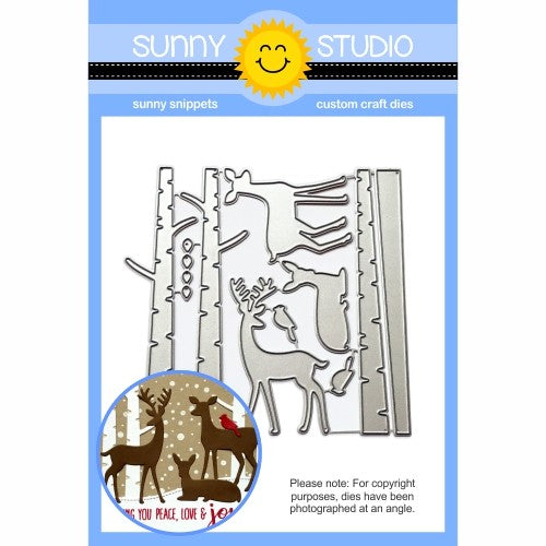 Sunny Studio Stamps Rustic Winter Birch Trees & Deer Metal Cutting Dies