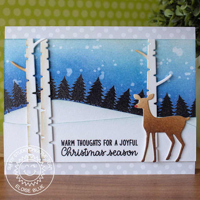 Sunny Studio Deer Christmas Card (using trees from Here Comes Santa stamps)