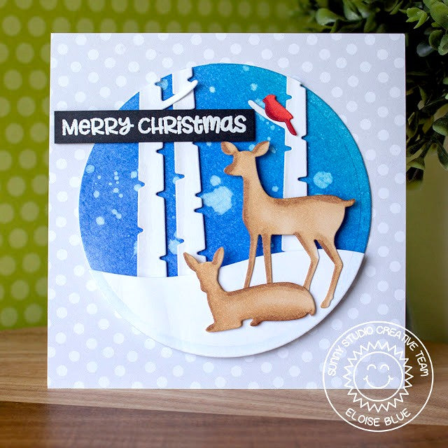 Sunny Studio Stamps Rustic Winter Deer & Birch Trees Circular Window Christmas Card