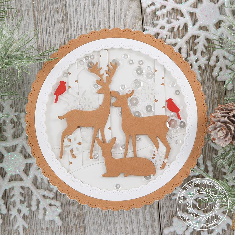 Sunny Studio Stamps Rustic Winter Kraft Deer with Birch Trees & Cardinal Birds Circular Shaker Card