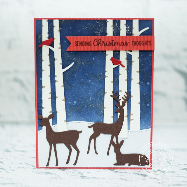 Sunny Studio Stamps Rustic Winter Deer, Cardinal Birds & Birch Tree Scenic Christmas Card