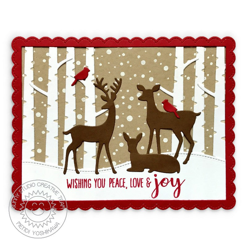 Sunny Studio Stamps Rustic Winter Wishing You Peace, Love & Joy Deer Handmade Holiday Christmas Card by Mendi (using stitched Woodland Hillside Border Dies)
