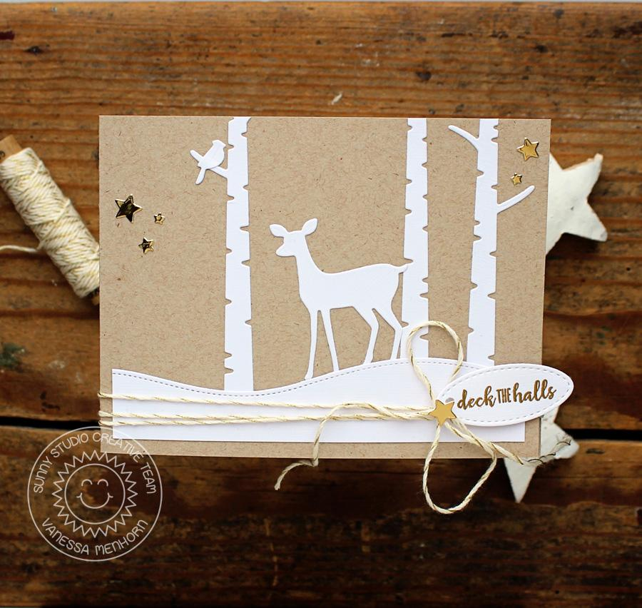 Sunny Studio Stamps CAS Kraft & White Deer Christmas Card (using Rustic Winter dies)