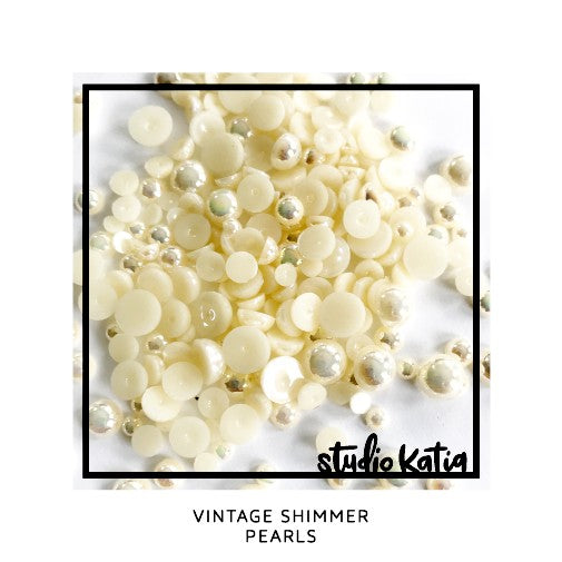 Studio Katia Vintage Shimmer Iridescent Ivory Cream Pearls Mix