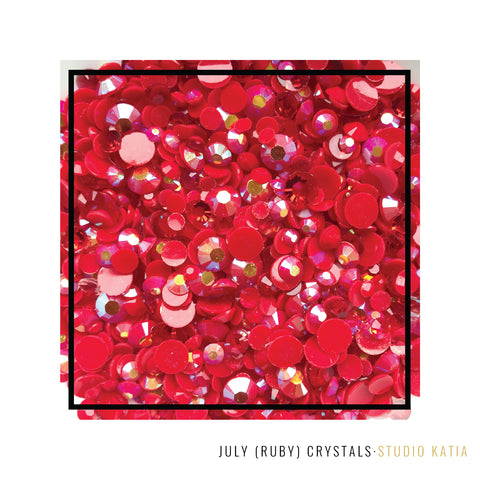 Studio Katia July Birthstone Ruby Red Crystals Embellishments