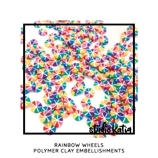 Studio Katia Rainbow Wheels Polymer Clay Confetti Embellishments for Shaker Cards