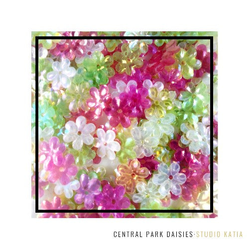 Studio Katia Central Park Fusion 10mm Iridescent Cupped Pink, Green, Yellow & White Clear Daisy Flower Sequins