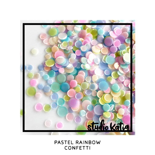 Studio Katia 4mm, 5mm & 6mm Cupped Iridescent Satin Finish Pastel Rainbow Confetti