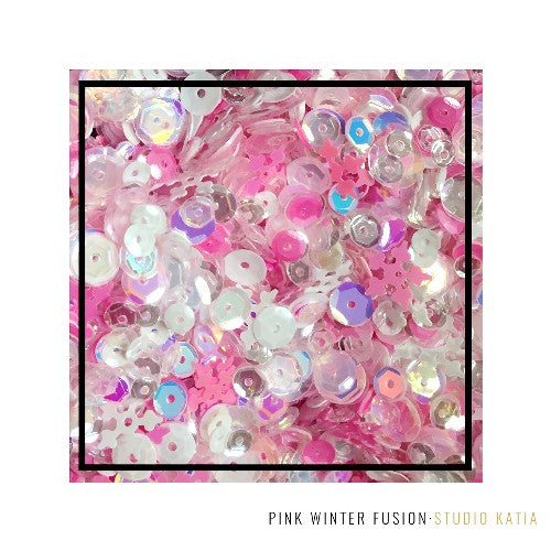 Studio Katia Pink Winter Fusion 4mm, 5mm & 6mm Iridescent Cupped & 10mm Snowflake Sequins