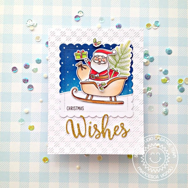 Sunny Studio Stamps Santa with Sleigh and Snowy Hills Handmade Holiday Christmas Card by Franci (using stitched Woodland Hillside Border Dies)