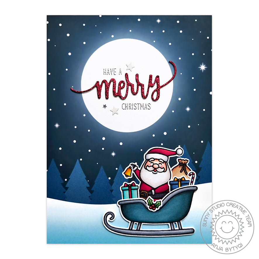 Sunny Studio Stamps Santa with glowing moon and starry night sky background Handmade Christmas Holiday Card by Anja (using Very Merry 6x6 Patterned Paper Pack)