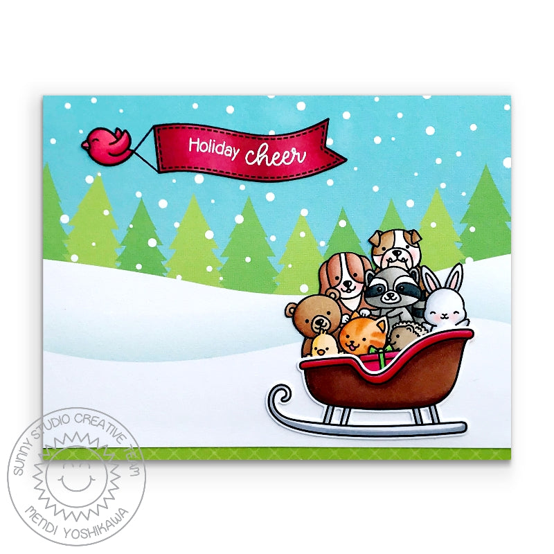 Sunny Studio Holiday Cheer Animal in Sleigh Handmade Christmas Card (using Cruising Critters Stamps)