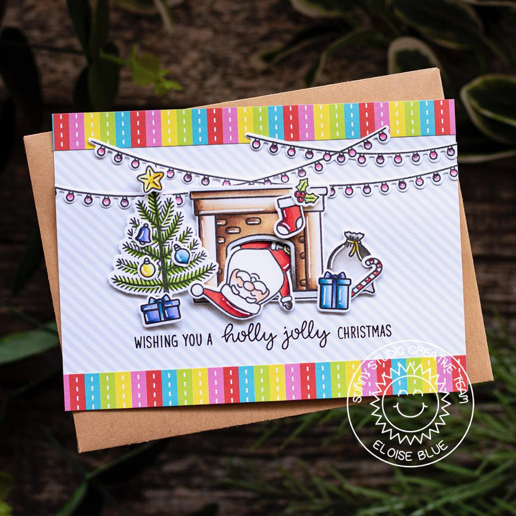 Sunny Studio Stamps Rainbow Striped Santa coming down Fireplace Chimney Handmade Christmas Holiday Card (using Very Merry 6x6 Patterned Paper Pack)