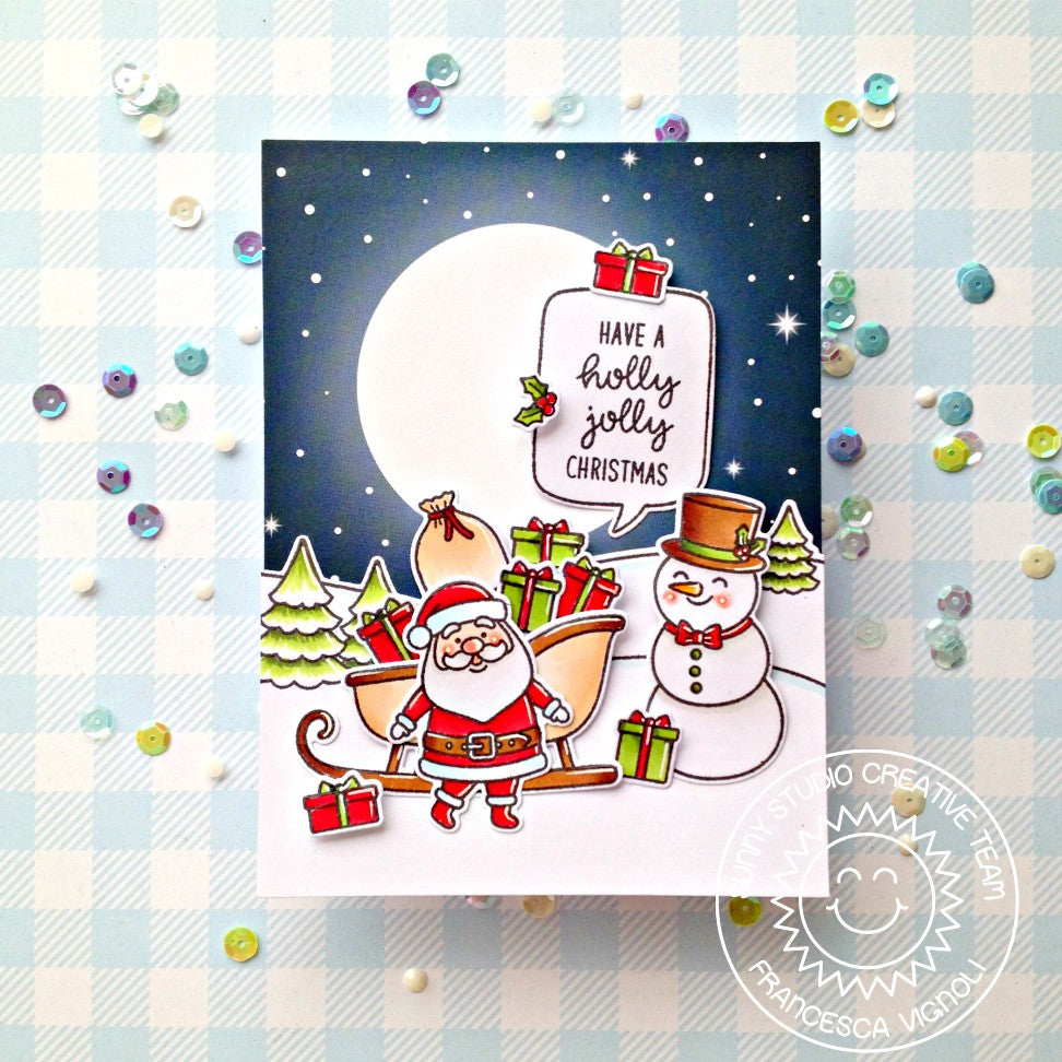 Sunny Studio Stamps Santa and Snowman Christmas Card (using snowy night's sky with glowing moon paper from Very Merry 6x6 Pad)