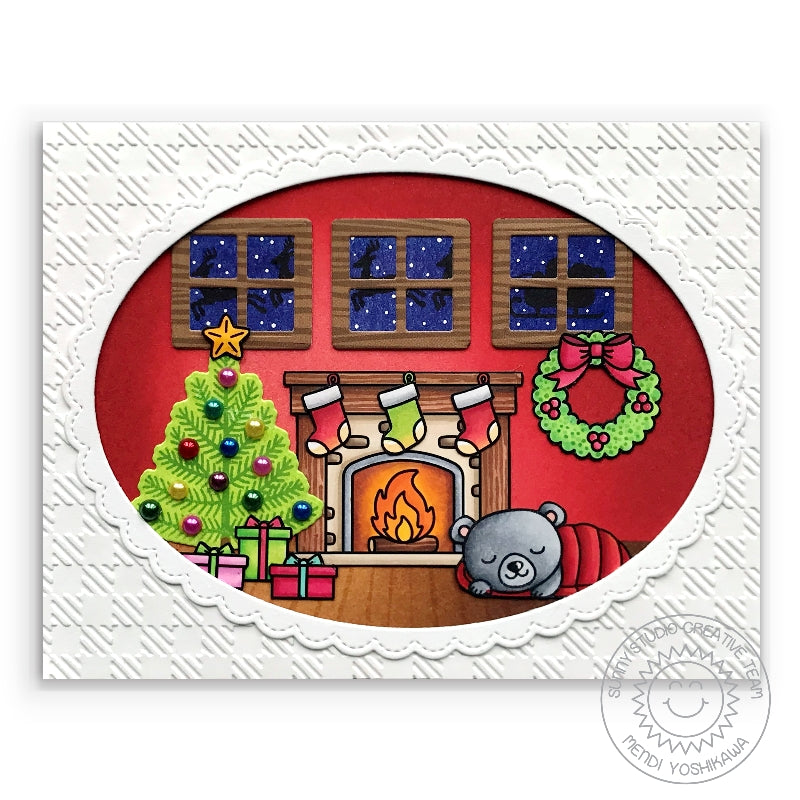 Sunny Studio Stamps Glowing Fireplace Christmas Home Scene Holiday Card with Santa and Sleigh (using Here Comes Santa Stamps)