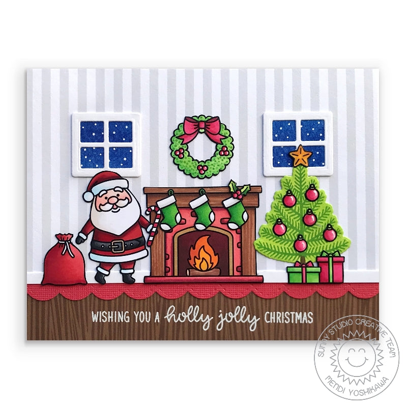 Sunny Studio Stamps Gray Striped Santa Claus Handmade Holiday Christmas Card (using Subtle Grey Tones 6x6 Patterned Paper Pack)