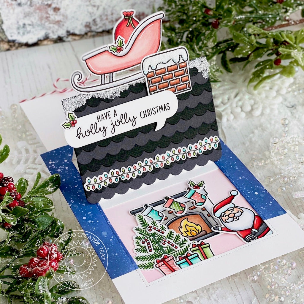 Sunny Studio Stamps Santa Claus Lane Sliding Window Pop-up Card (using Sweet Treats House Add-on die)
