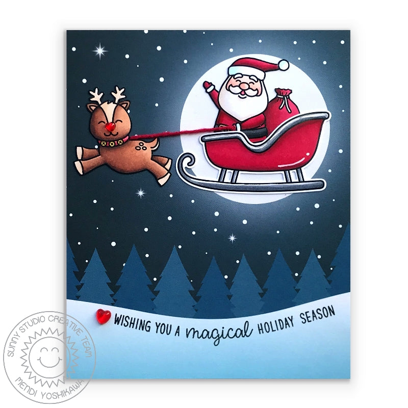Sunny Studio Stamps Santa Claus Lane Santa in Sleigh flying through Starry Night with Glowing Moon Holiday Christmas Card (using Very Merry 6x6 Patterned Paper Pack)