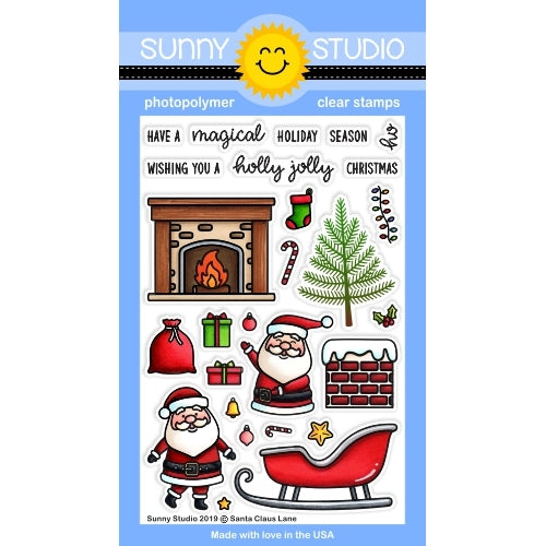 Sunny Studio Stamps Santa Claus Lane Christmas Holiday 4x6 Clear Photopolymer Stamp Set