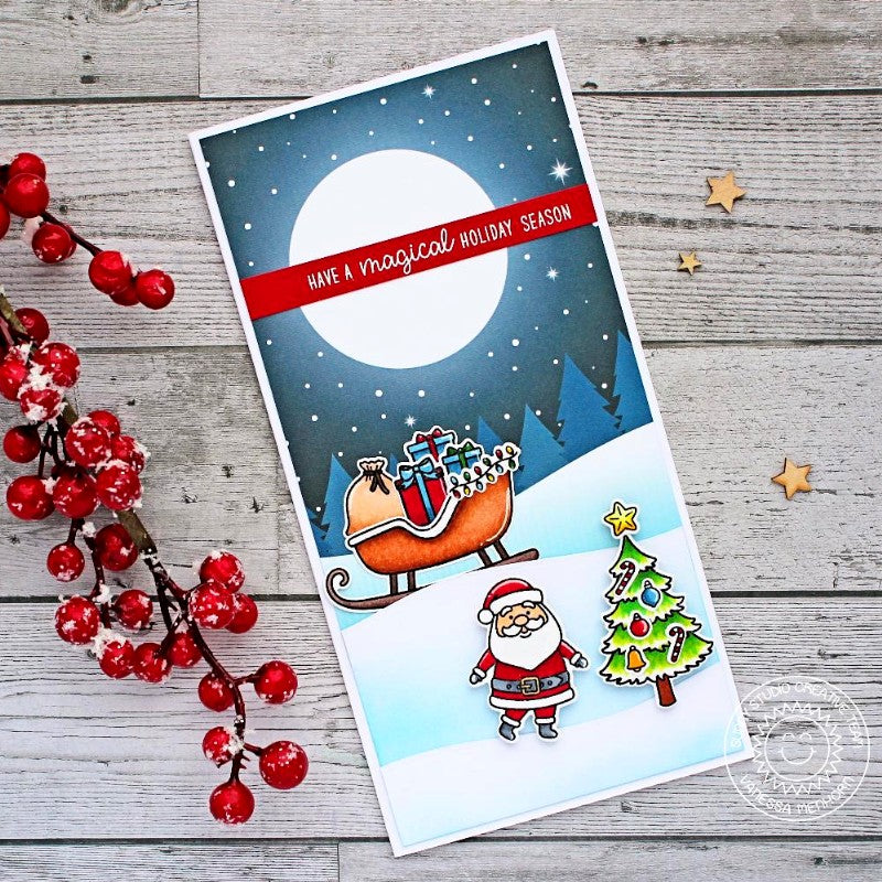 Sunny Studio Stamps Santa with Moonlit Evening Sky Background Handmade Christmas Holiday Card (using Very Merry 6x6 Patterned Paper Pack)
