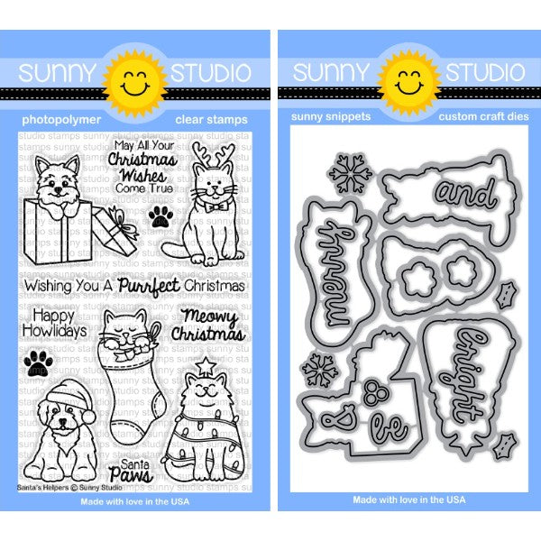 Sunny Studio Stamps Santa's Helpers 4x6 Kitty Cat & Puppy Dog Christmas Photo-Polymer Clear Stamps & Metal Cutting Dies Set