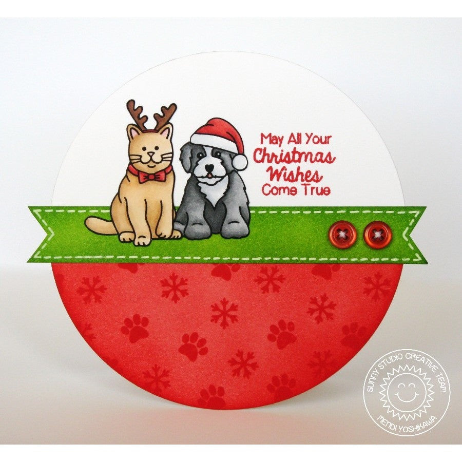 Sunny Studio Stamps Santa's Helpers Reindeer Cat & Santa Dog Circle Shaped Card