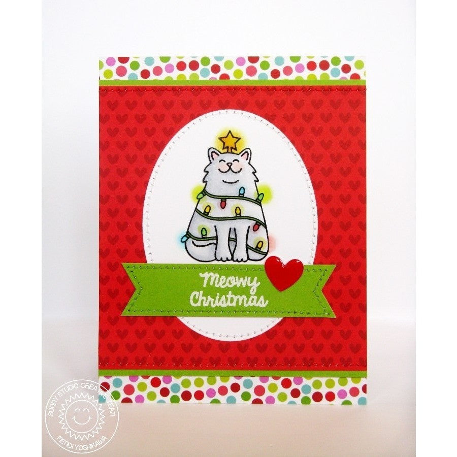 Sunny Studio Stamps Santa's Helpers Kitty Cat Wrapped in Holiday Lights Meowy Christmas Card