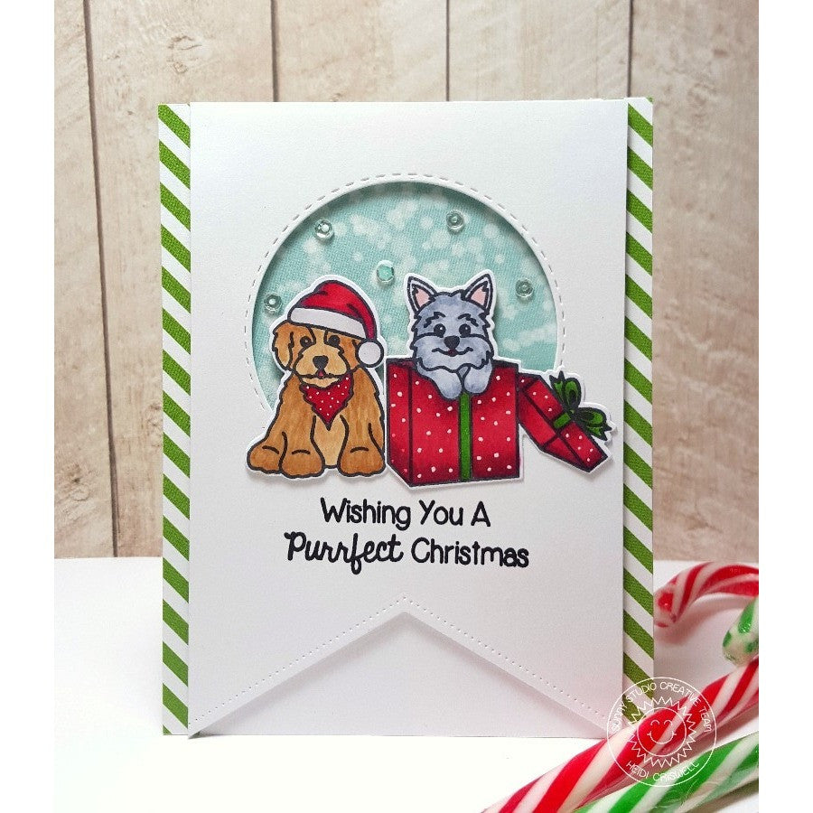 Sunny Studio Stamps Santa's Helpers Puppy Dogs in Holiday Gift