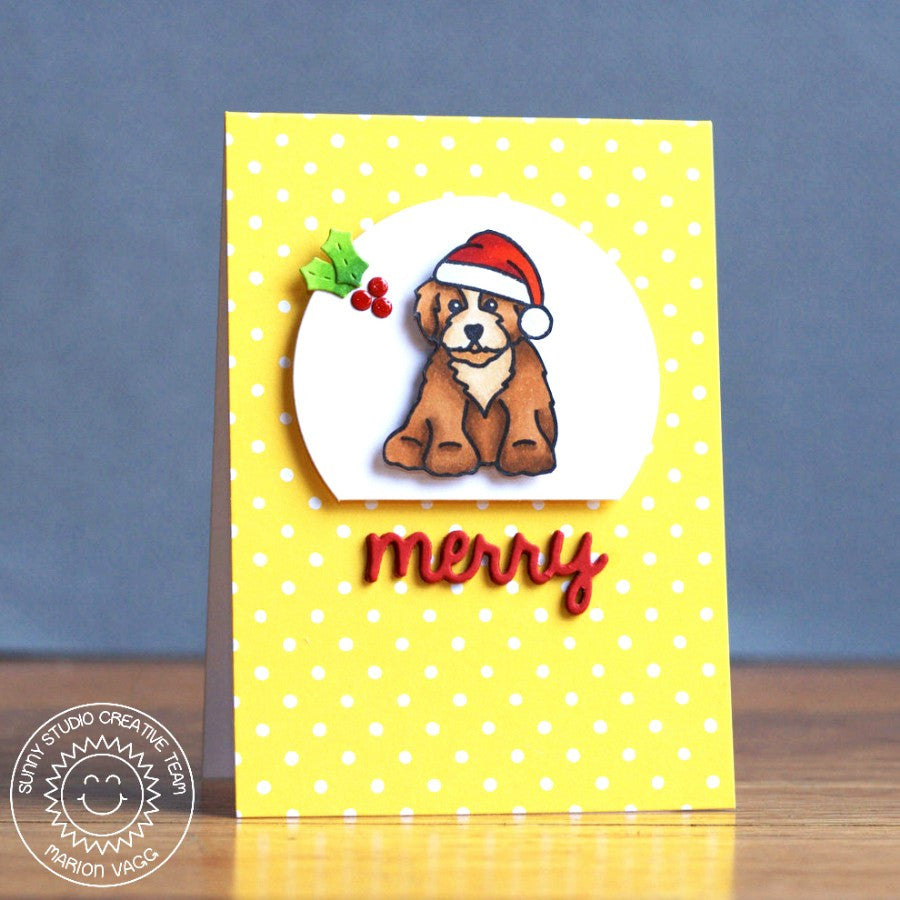 Sunny Studio Stamps Santa's Helpers Santa Puppy Dog Card