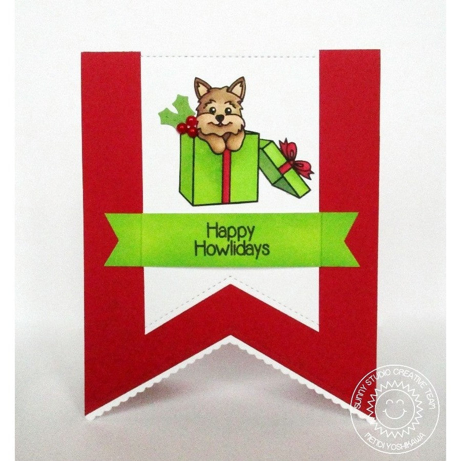 Sunny Studio Stamps Santa's Helpers Puppy Dog in Christmas Present Happy Howlidays Card
