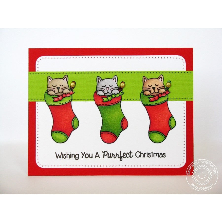 Sunny Studio Stamps Santa's Helpers Kitty Cats in Stocking Card