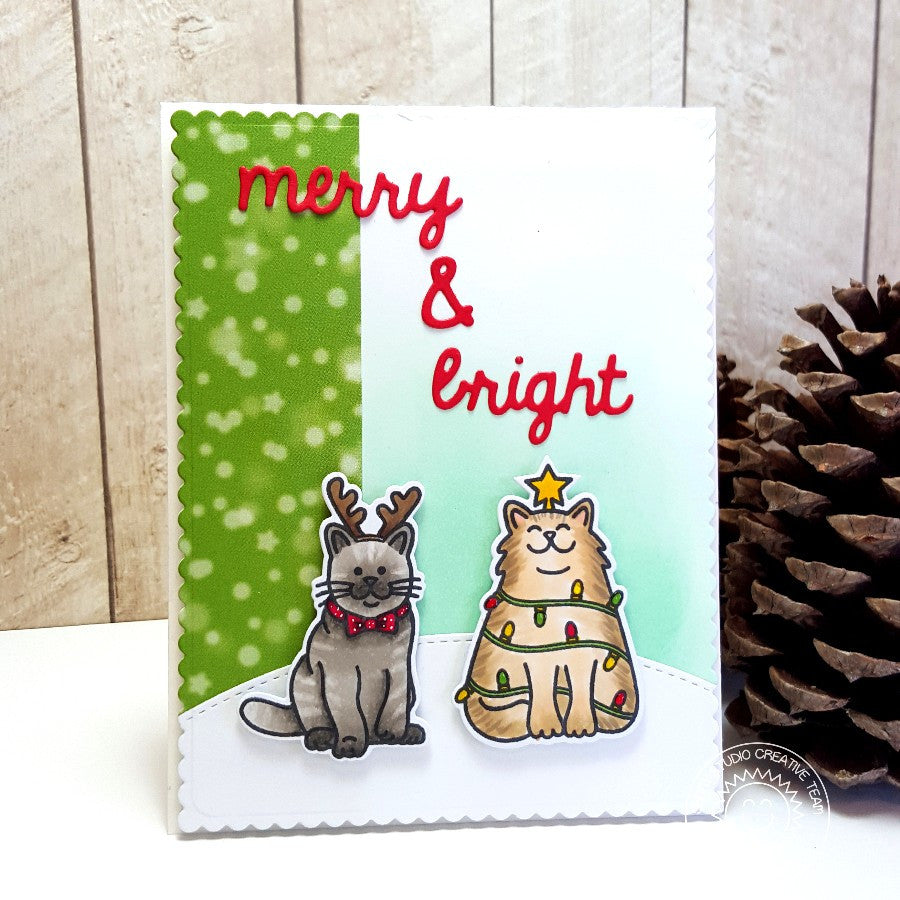Sunny Studio Stamps Santa's Helpers Merry & Bright Kitty Cats Christmas Card