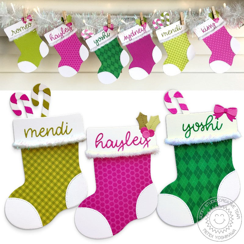 Sunny Studio Stamps Santa's Stocking Pink, Green & Iridescent Christmas Holiday Banner by Mendi