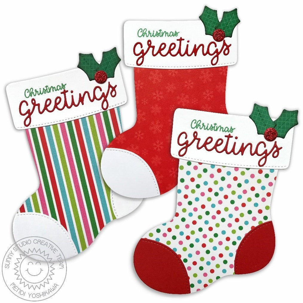 Sunny Studio Stamps Santa's Stocking Shaped A2 Card Set