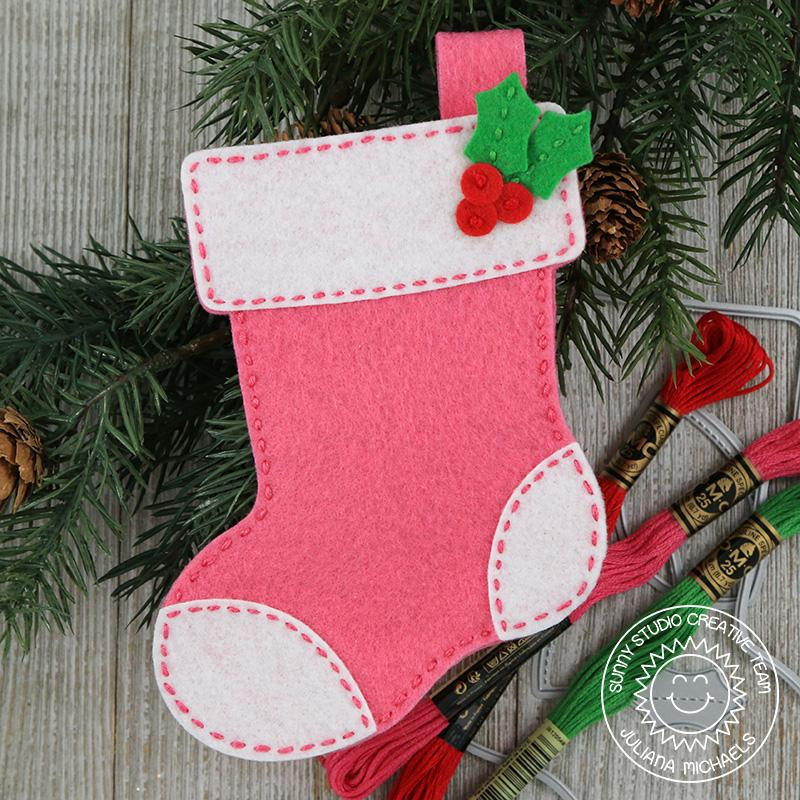 Sunny Studio Stamps Santa's Stocking Pink Felt Christmas Ornament by Juliana Michaels
