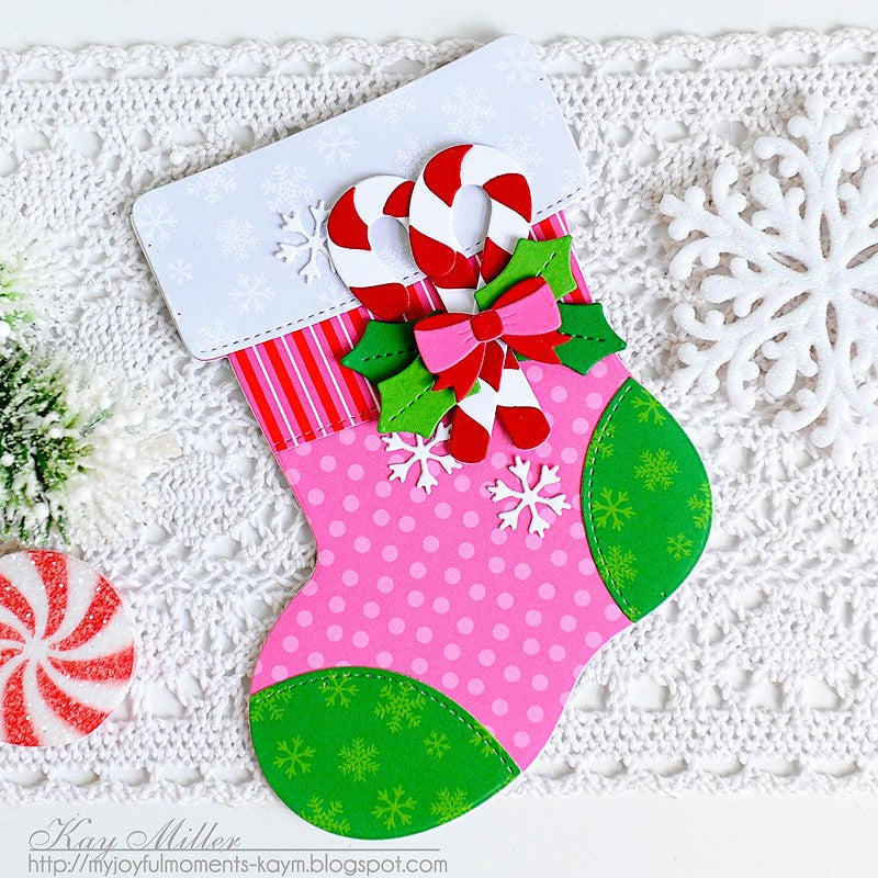 Sunny Studio Stamps Santa's Stocking Pink & Green Candy Cane Shaped Christmas Card by Kay Miller