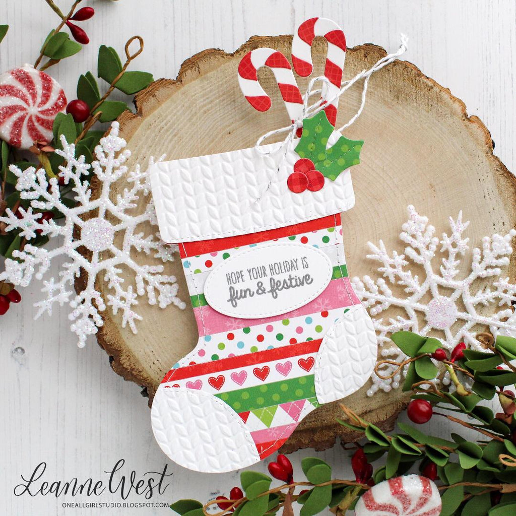 Sunny Studio Stamps Santa's Stocking Patchwork Christmas Card by Leanne West