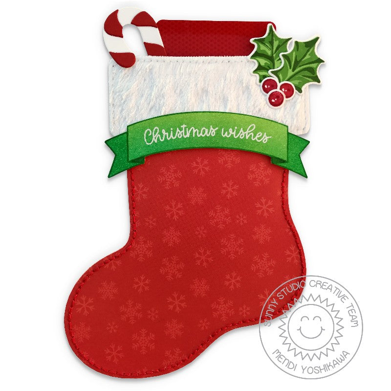 Sunny Studio Stamps Santa's Stocking Shaped Christmas Gift Card Holder