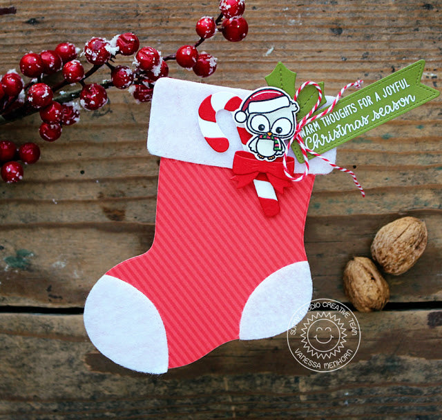 Sunny Studio Stamps Santa's Stocking Shaped Christmas Card with Owl & Candy Cane by Vanessa Menhorn