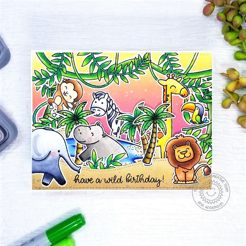 Sunny Studio Stamps Summer Safari Zoo Animal Themed Handmade Card with hanging jungle vines & leaves (using Tropical Scenes 4x6 Clear Photopolymer Stamp Set)