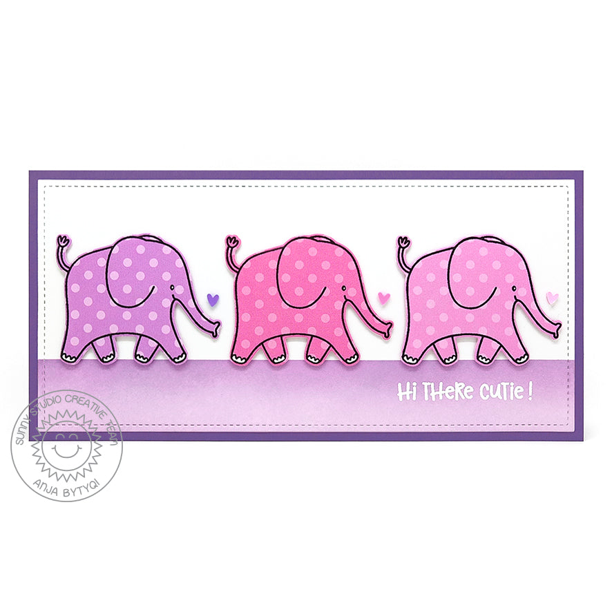 Sunny Studio Stamps Hi Thee Cutie Pink Polka-dot Elephant Handmade Slimline Baby Card (using Savanna Safari Animal 4x6 Clear Photopolymer Stamp Set)