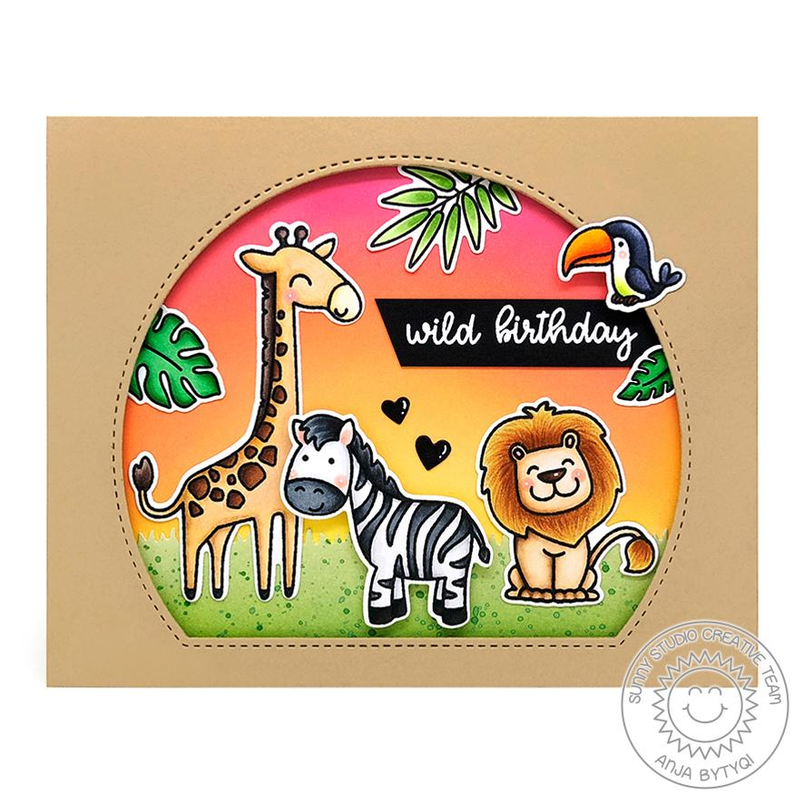 Sunny Studio Stamps Wild Birthday Savanna Safari Giraffe, Zebra and Lion Critters with Sunset Handmade Card (using Stitched Semi-Circle Nested Metal Cutting Dies)