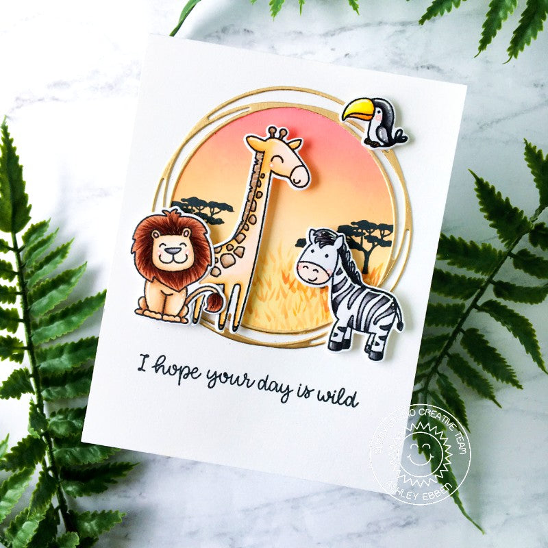 Sunny Studio Savanna Safari Punny Lion, Giraffe & Zebra Handmade DIY Greeting Card (using Loopy Snowflake Circle Frame Metal Cutting Die)
