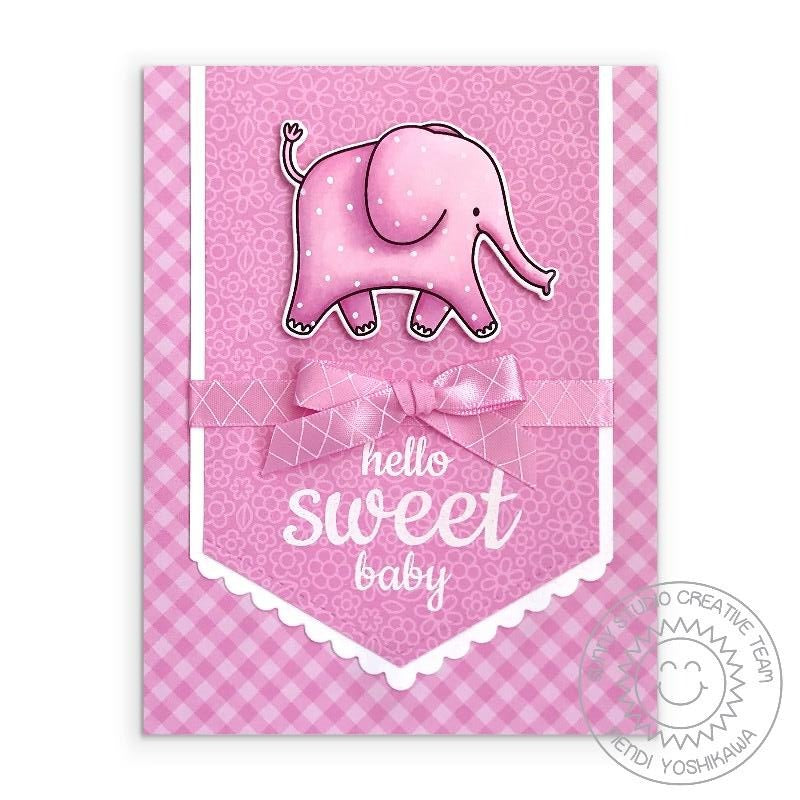 Sunny Studio Stamps: Hello Sweet Baby Girl Pink Gingham Polka-dot Elephant Handmade Card (using Savanna Safari 4x6 Clear Photopolymer Stamp Set)