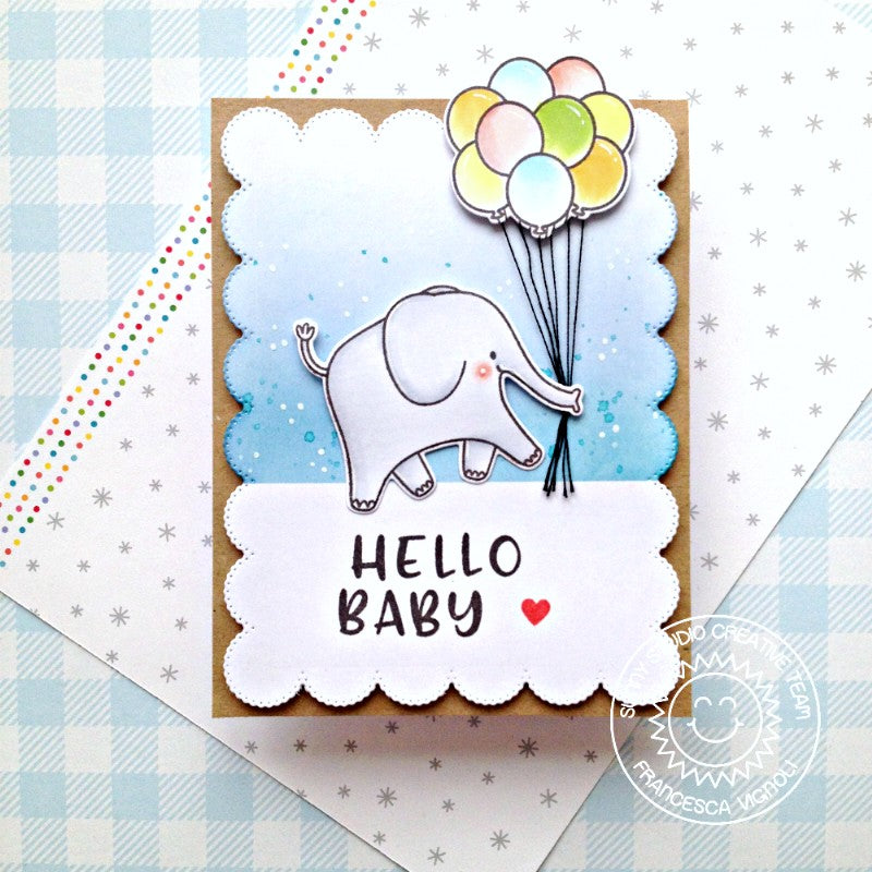 Sunny Studio Welcome, Congratulations and Hello Baby Pastel Elephant Holding Bouquet of Balloons in Trunk Handmade DIY Greeting Card for New Baby (using Savanna Safari 4x6 Clear Photopolymer Stamp Set)
